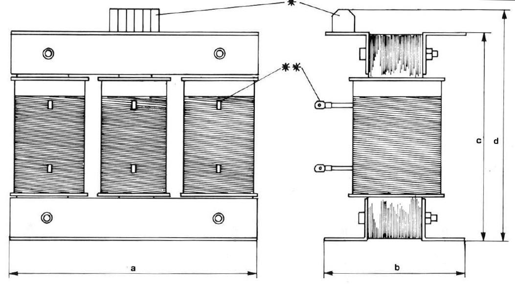 Three-phase chokes dimensions